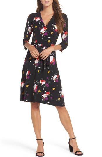Women's Leota Print Jersey Faux Wrap Dress, Size X-Small - Black