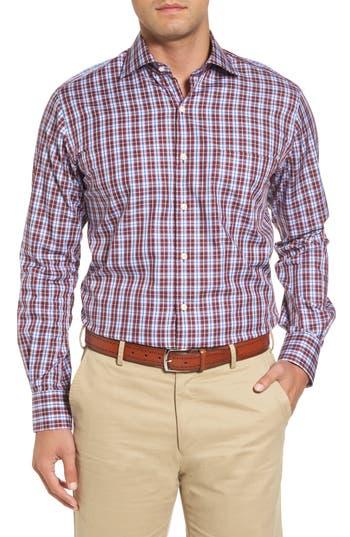 Men's Peter Millar Mitchell Plaid Sport Shirt, Size Small - Burgundy