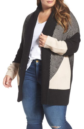 Plus Size Women's Caslon Colorblock Ribbed Cardigan