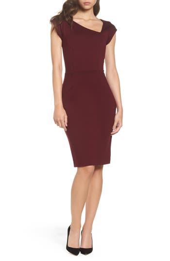 Women's French Connection Lula Sheath Dress, Size 0 - Burgundy