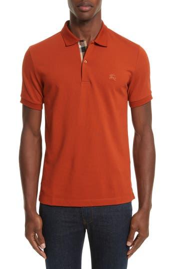 Men's Burberry Pique Polo, Size Small - Orange