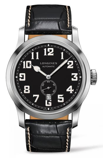 Men's Longines Heritage Automatic Military Leather Strap Watch, 44Mm