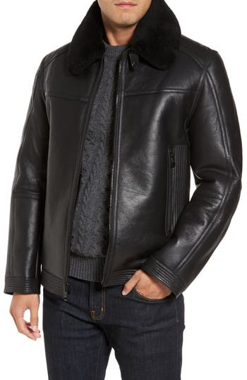 Men's Andrew Marc Leather Jacket With Genuine Shearling Collar