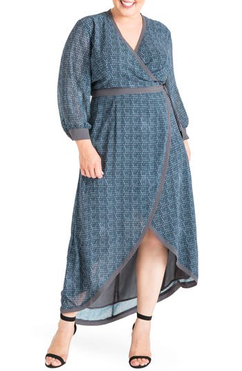Plus Size Women's Standards & Practices Elle High/low Wrap Dress, Size 1X - Blue