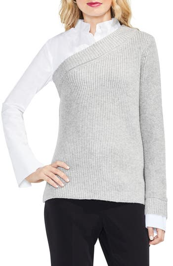 Women's Vince Camuto Mix Media Layered Sweater