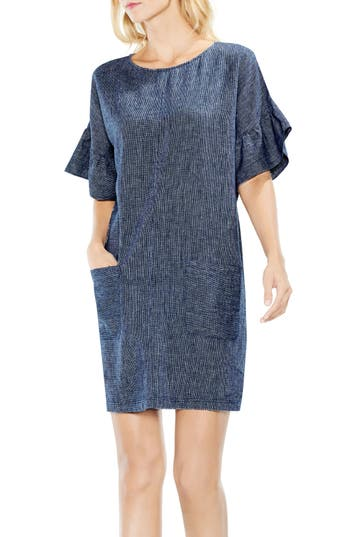 Two By Vince Camuto Ruffle Sleeve Drop Shoulder Shift Dress, Blue