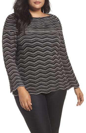 Plus Size Women's Nic+Zoe Zigzag Stripe Sweater, Size 3X - Black