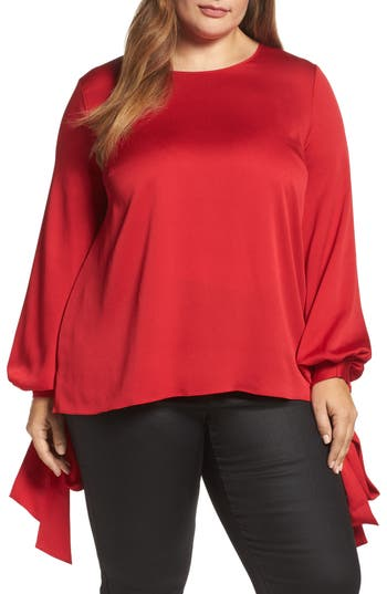 Plus Size Women's Vince Camuto Tie Cuff Bubble Sleeve Blouse, Size 1X - Red
