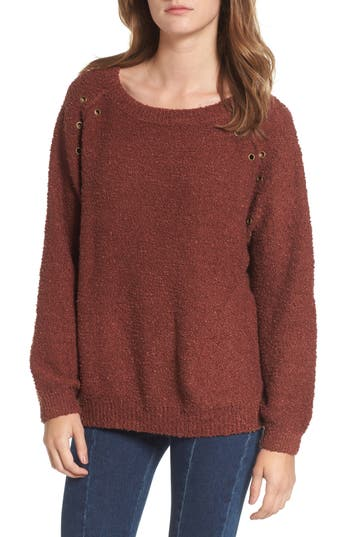 Women's Dreamers By Debut Grommet Detail Sweater, Size X-Small - Red