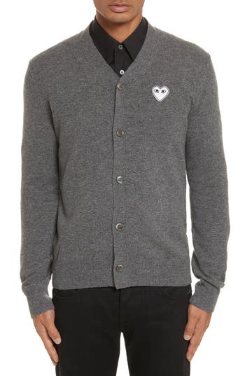 Comme Des Garcons Play White Heart Wool Cardigan, Grey