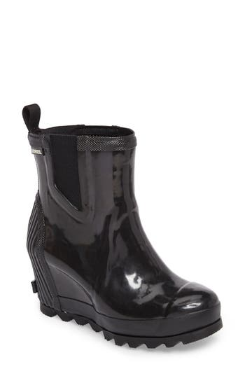 Sorel Joan Glossy Wedge Rain Boot, Black