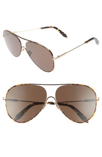 Victoria Beckham Loop 62Mm Oversize Aviator Sunglasses - Feu De Bois