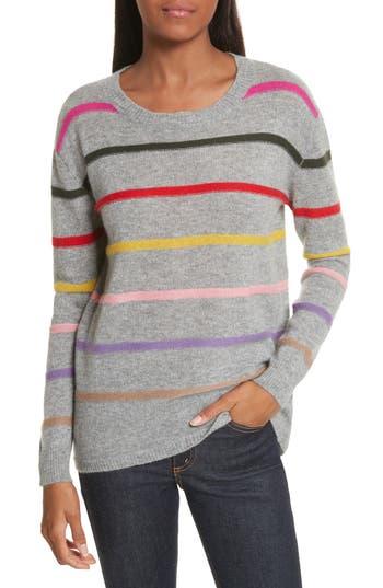 Women's Allude Stripe Cashmere Sweater, Size X-Small - Grey