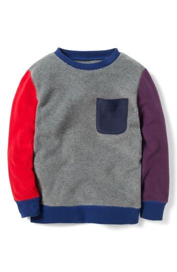 Boy's Mini Boden Colorblock Fleece Sweatshirt, Size 4-5Y - Grey