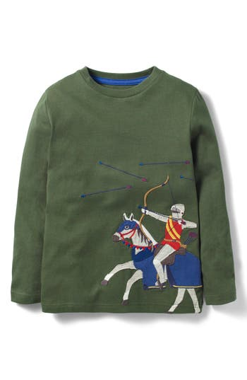 Boy's Mini Boden Noble Knight Embroidered T-Shirt, Size 4-5Y - Green