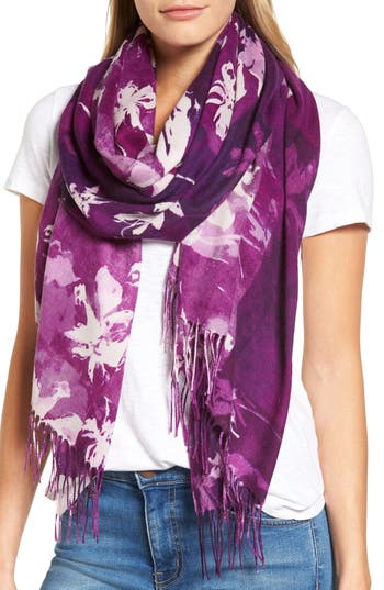 Women's Nordstrom Solar Patchwork Tissue Wool & Cashmere Scarf, Size One Size - Purple
