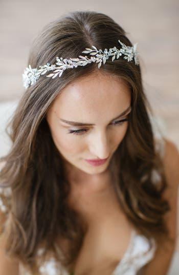 Brides & Hairpins 'Avalon' Leaf Halo & Sash, Size One Size - Grey