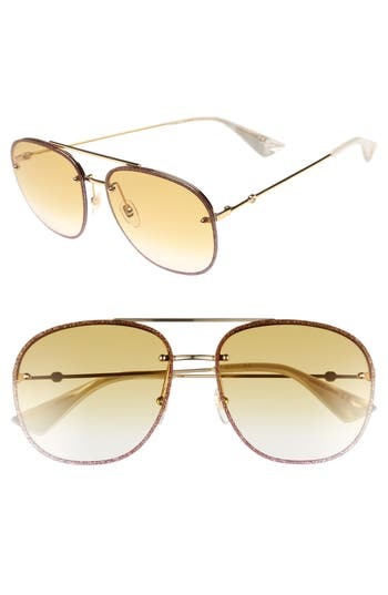 Gucci 62Mm Oversize Aviator Sunglasses - Gold/ Yellow