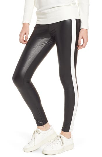 David Lerner TUXEDO STRIPE ZIP FAUX LEATHER LEGGINGS