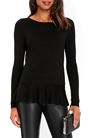 Women's Wallis Peplum Knit Sweater, Size 10 US / 14 UK - Black