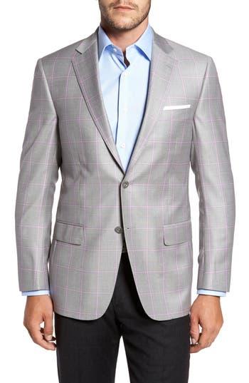 Men's Big & Tall Hart Schaffner Marx Classic Fit Windowpane Wool Sport Coat, Size 50R - Grey