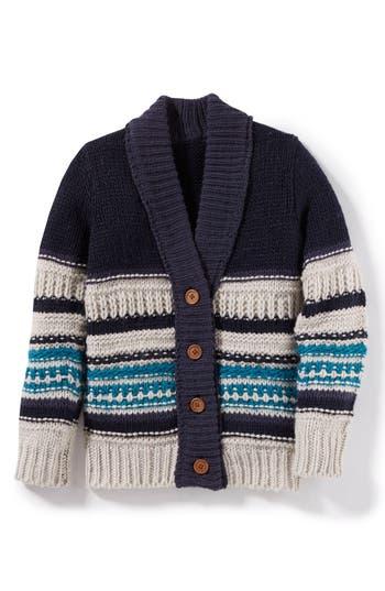 Boy's Peek Ollie Striped Cardigan Sweater, Size S (4-5) - Blue