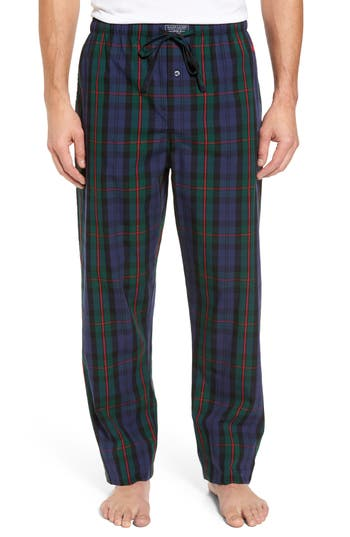 Men's Polo Ralph Lauren Plaid Cotton Lounge Pants, Size Small - Blue