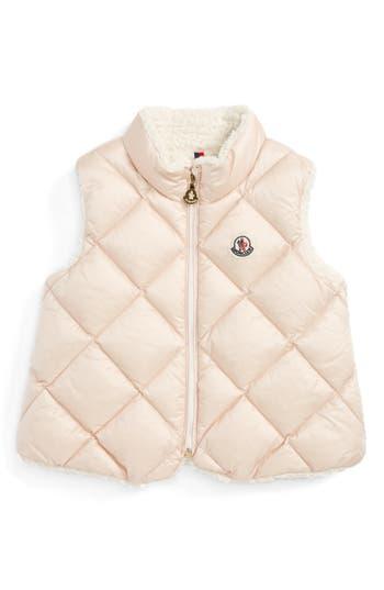 Toddler Girl's Moncler Ysaline Down & Fleece Lined Vest, Size 3-6M - Pink
