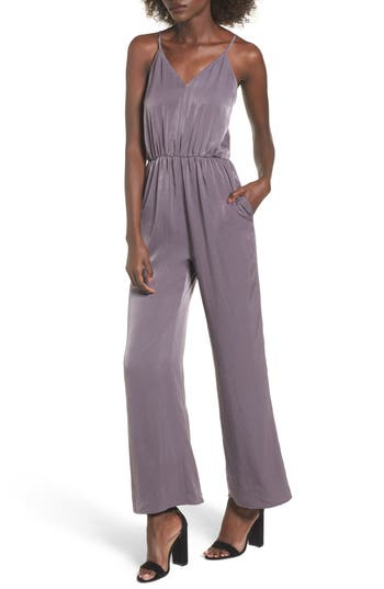 Women's Everly Satin Jumpsuit, Size Small - Grey
