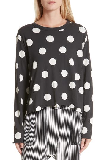 Women's The Great. The Long Sleeve Crop Dot Print Tee