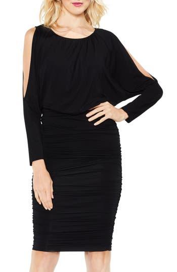 Vince Camuto Cold Shoulder Ruched Dress, Black