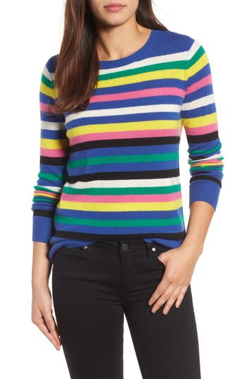 Women's Halogen Stripe Cashmere Sweater, Size X-Small - Blue