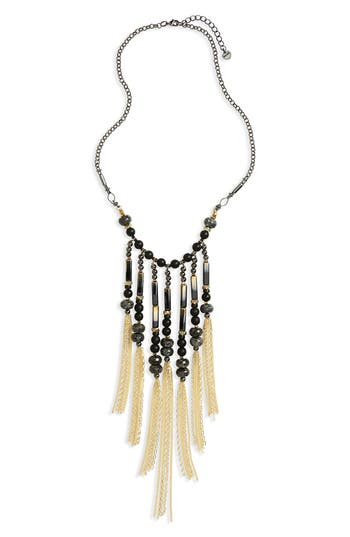 Women's Nakamol Design Beaded Fringe Statement Necklace