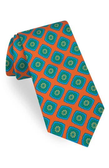 1960s Men's Ties | Skinny Ties, Slim Ties Mens Ted Baker London Large Medallion Print Silk Tie Size Regular - Orange $95.00 AT vintagedancer.com