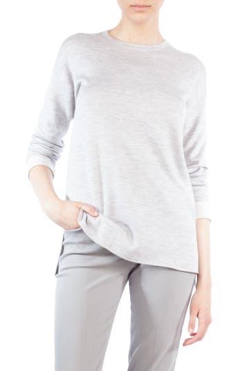 Women's Akris Wool & Silk Stripe Back Sweater, Size 6 - Grey