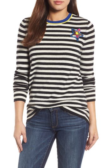 Women's Halogen Stripe Cashmere Sweater, Size X-Small - Black