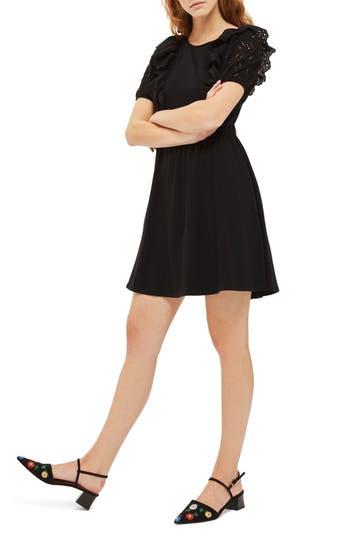 Topshop Broderie Trim Skater Dress, US (fits like 0) - Black