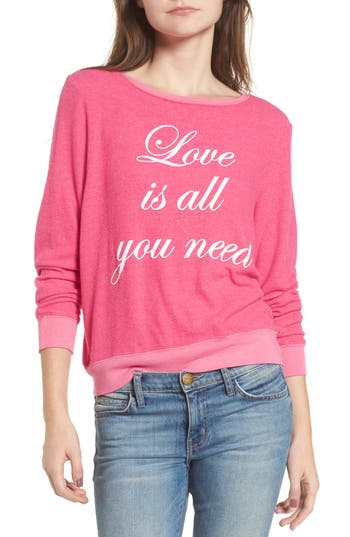 Women's Dream Scene Love Is All Sweatshirt, Size XX-Small - Pink
