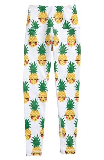 Girl's Flexi Lexi Pineapple Print Leggings, Size XS (3-5y) - White