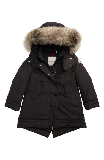 Girl's Moncler Yolande Hooded Down Jacket With Genuine Fox Fur