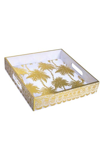 Lilly Pulitzer Lacquer Hostess Tray, Size One Size - Metallic