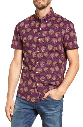 Men's Bonobos Slim Fit Pineapple Sport Shirt, Size Small R - Red
