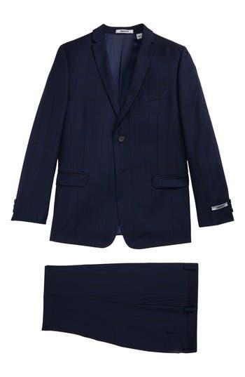Boy's Dkny Windowpane Wool Suit