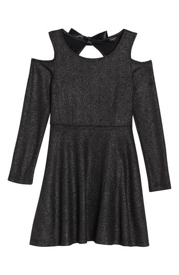 Girl's Bebe Sparkle Knit Cold Shoulder Dress