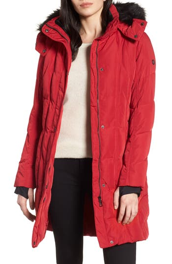 Women's Calvin Klein Hooded Down Parka With Faux Fur Trim, Size X-Small - Red