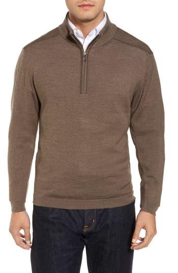 Big & Tall Cutter & Buck Henry Quarter-Zip Pullover Sweater, Brown
