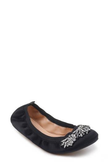 Badgley Mischka Sasha Embellished Flat, Black