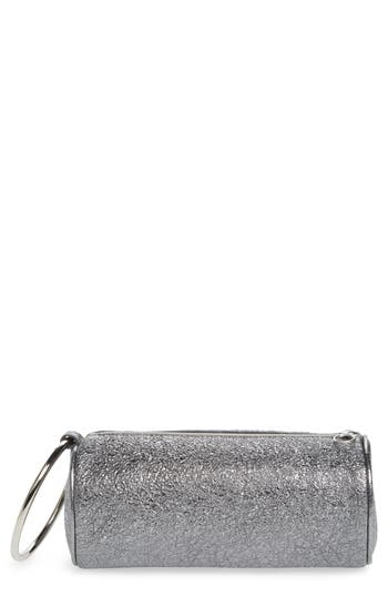 Kara Crinkled Metallic Leather Duffel Wristlet Clutch - Metallic