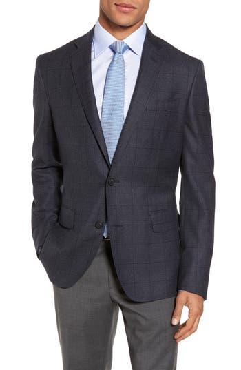 Men's Nordstrom Men's Shop Trim Fit Windowpane Wool Sport Coat, Size 38R - Blue