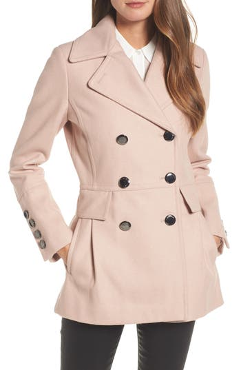 Women's Calvin Klein Double Breasted Wool Blend Peacoat, Size X-Small - Pink